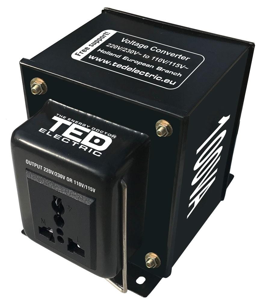 Convertor de tensiune de la 230V AC la 110V AC 100VA ~70W