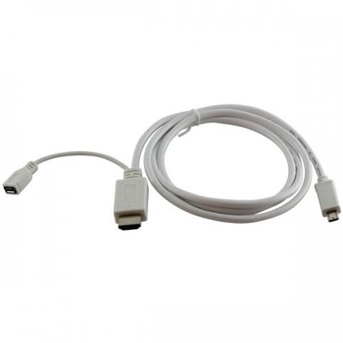 Cablu MHL de la micro USB 11 pini tata  la HDMI tata + alimentare