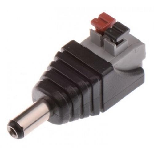 Mufa alimentare tata DC 5,5 x 2,1mm cu clipp pentru prindere cablu alimentare, pentru CCTV (supraveghere)