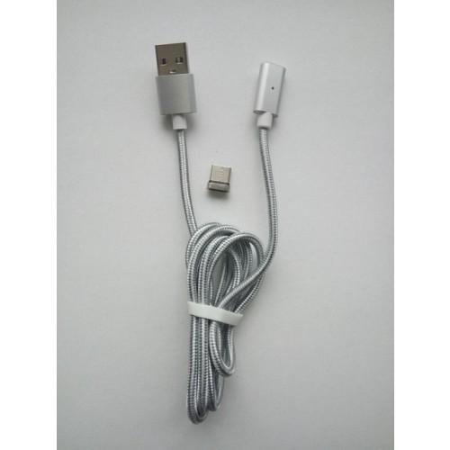 Cablu USB 3.1 (tip C) cu cap magnetic, 1m, argintiu