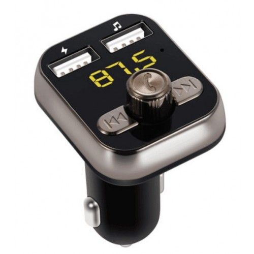 Modulator FM cu Bluetooth V4.0, slot card microSD si 2 x USB (2.1A+1A), afisaj LED