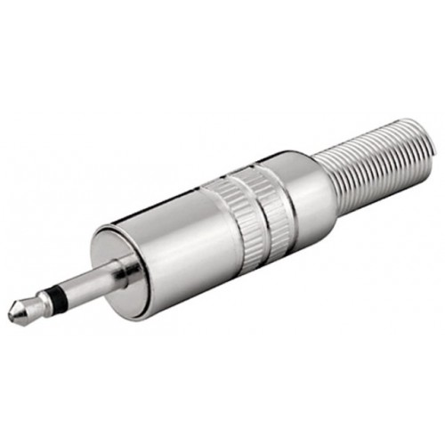 Mufa tata jack 3.5mm, mono, metal, cu protector cablu