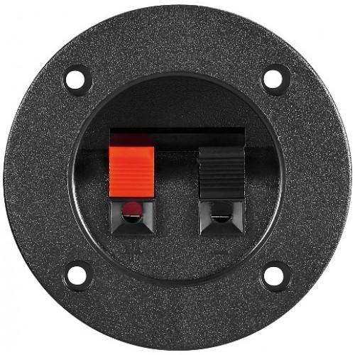 Terminal difuzor, 2 poli de tip push, rosu/negru, panou, rotund