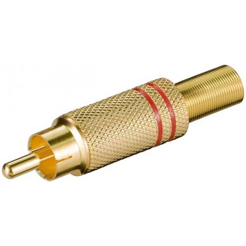 Mufa RCA tata, metal, inel rosu, protector cablu