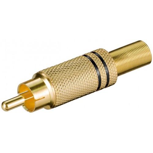 Mufa RCA tata, metal, inel negru, protector cablu
