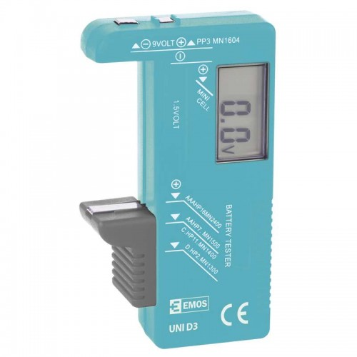 Tester baterie cu display digital pentru testare: R3 (AAA), R6(AA), R14 (C), R20 (D), 9V si butoni de 1.5V