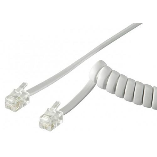Cablu telefon spiralat 2m RJ10 tata la RJ10 tata, alb
