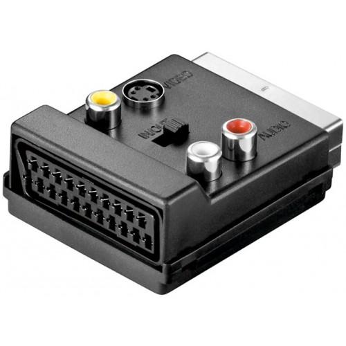 Adaptor SCART (tata/mama) la 3xRCA mama si SVHS mama, cu comutator