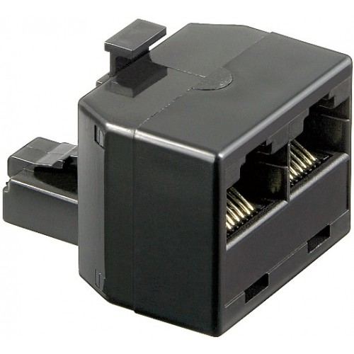 Adaptor UTP, ISDN 8P8C RJ45 tata la 2 x RJ45 mama, negru