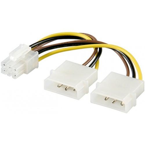 Cablu alimentare 0.15 m 2 x 5.25 tata Molex la PCI Express 6 pini
