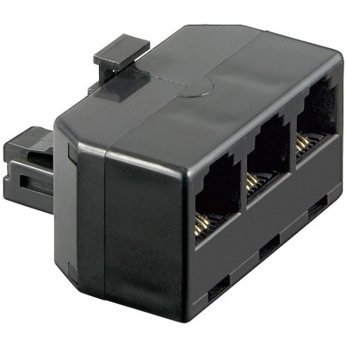 Adaptor modular 6P4C RJ11 tata la 3 x RJ11 mama, negru
