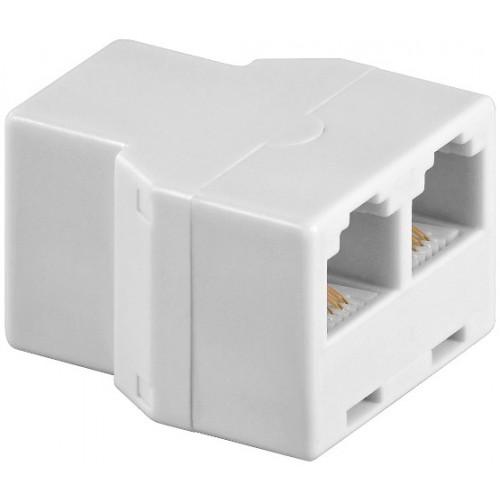 Adaptor modular 6P4C RJ11 mama la 2 x RJ11 mama, alb