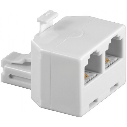 Adaptor modular 6P4C RJ11 tata la 2 x RJ11 mama, alb