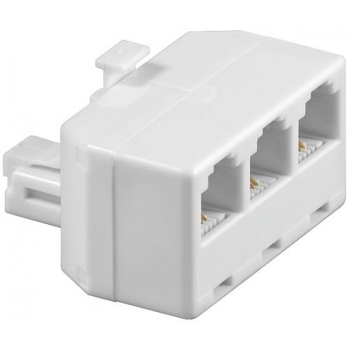 Adaptor modular 6P4C RJ11 tata la 3 x RJ11 mama, alb