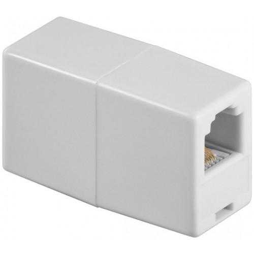 Adaptor modular 6P4C RJ11 mama la RJ11 mama, alb