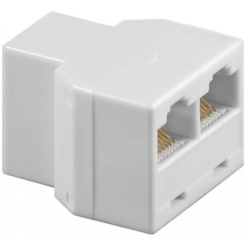 Adaptor UTP, ISDN 8P8C RJ45 mama la 2 x RJ45 mama, alb