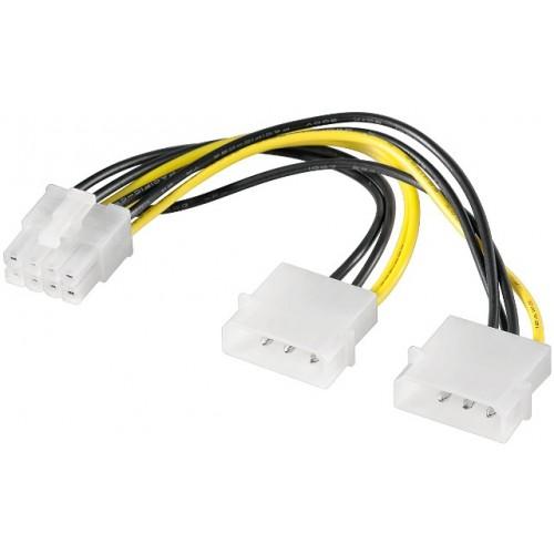 Cablu alimentare Molex 0.15m 2 x 5.25 tata la PCI Express 8 pini