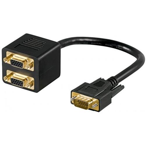 Adaptor cu cablu VGA (SVGA) tata la 2 x VGA (SVGA) mama